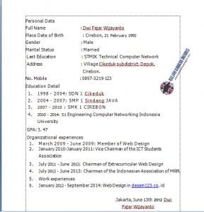Contoh CV Bahasa Inggris Yang Baik Dan Benar
