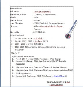 Contoh CV Dalam Bahasa Inggris Yang Baik Dan Benar