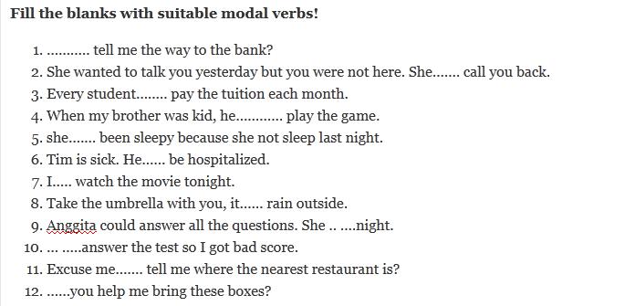 Contoh Soal Modals Verbs