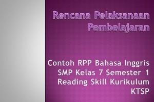 Contoh RPP Bahasa Inggris SMP Kelas 7 Semester 1 Reading Skill Kurikulum KTSP